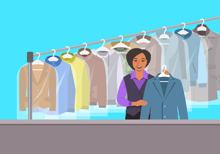 Dry cleaning shop interior. African American girl stands at reception counter and holds clean jacket. Hanging rack with cleaned clothes. Vector flat illustration. Cleaner service conceptual background