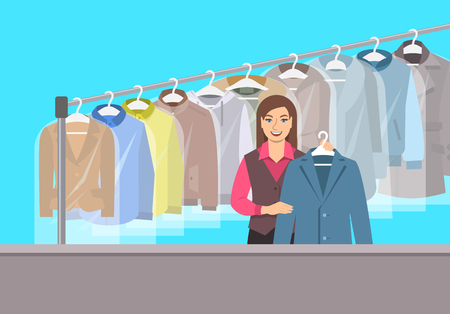 Dry cleaning shop interior. Young girl stands at reception counter and holds clean jacket. Hanging rack with cleaned clothes. Vector flat illustration. Textile cleaner service conceptual background Illustration