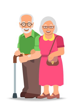 Old couple standing together. Elderly woman holds her husband arm. Vector flat illustration. Aged man leans on stick. Happy smiling senior people in retirement. Long married life concept  イラスト・ベクター素材