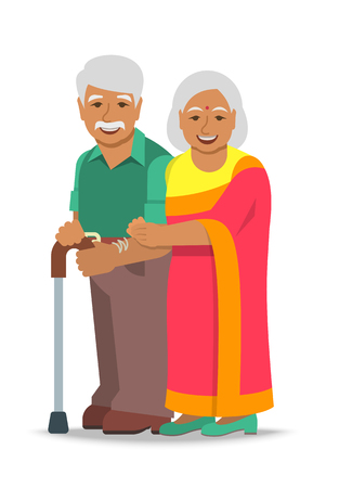 Old couple stands together. Elderly Indian woman in sari holds her husband arm. Vector flat illustration. Aged man leans on stick. Happy smiling senior people in retirement. Long married life concept 免版税图像 - 103168383