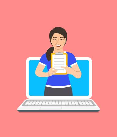 Concept d'entraîneur de fitness en ligne. Plate illustration vectorielle. Instructeur de gym jeune femme asiatique est titulaire d'un presse-papiers avec programme de formation. Plan de perte de poids à l'aide d'un ordinateur. Accompagnement d'un mode de vie sain par le Web Vecteurs