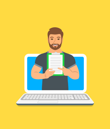 Online fitness trainer concept. Vector flat illustration. Young man gym instructor holds a clipboard with training program. Weight loss plan using computer. Healthy lifestyle support by web  イラスト・ベクター素材