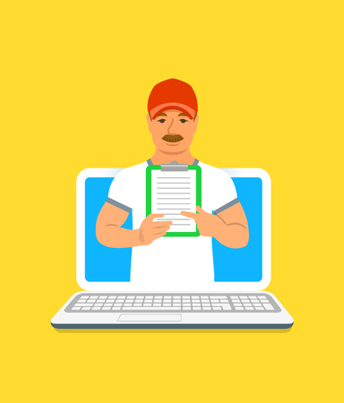 Sport trainer online concept. Vector flat illustration. Mature man gym instructor holds a clipboard with training program. Weight loss fitness plan using computer. Healthy lifestyle support by web