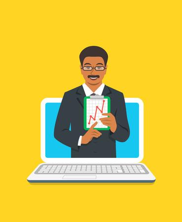 Concepto de coaching empresarial en línea. Vector ilustración plana. Entrenador de negocios de hombre negro en el monitor de la computadora tiene gráfico de crecimiento del dinero. Formación empresarial en internet. Presentación de la estrategia de marketing
