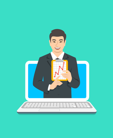 Online business coaching concept. Vector flat illustration. Asian man business coach on computer monitor holds graphic of money growth. Business training on internet. Marketing strategy presentation