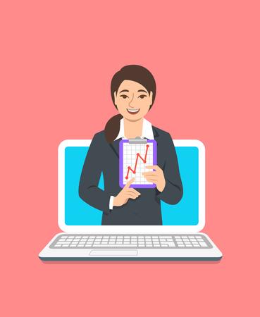 Concetto di coaching aziendale online. Vector piatta illustrazione. L'allenatore di affari della giovane donna sul monitor del computer tiene il grafico della crescita dei soldi. Formazione aziendale su Internet. Presentazione della strategia di marketing