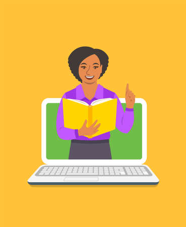 Online education concept. Young black woman teacher holds open book and lifts a finger up to share knowledge. Cartoon vector illustration. Distance learning by computer. Virtual library on internet Vectores