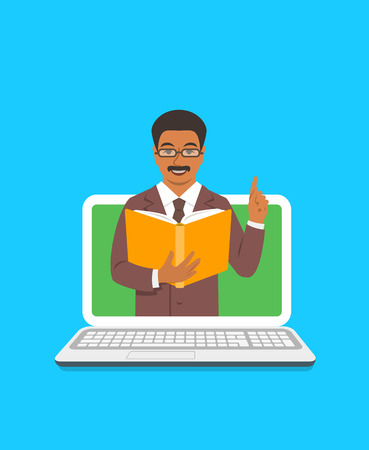 Online education concept. Black man teacher holds open book and lifts a finger up to share knowledge on web. Cartoon vector illustration. Distance learning by computer. Virtual library on internet Çizim