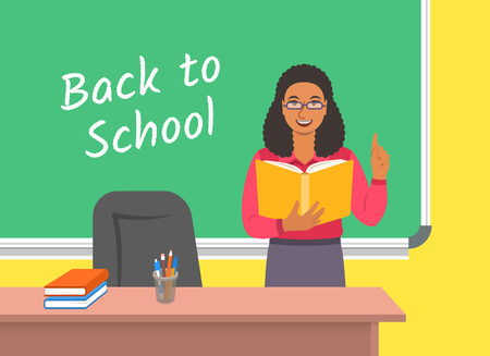 Teacher black woman standing with open book at the blackboard in classroom. School class interior. Traditional education concept. Vector cartoon illustration. Back to school banner.