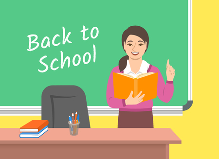 Teacher young asian woman standing with open book at the blackboard in classroom. School class interior. Traditional education concept. Vector cartoon illustration. Back to school banner.