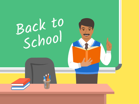 Teacher Indian man standing with open book at the blackboard in classroom. School class interior. Traditional education concept. Vector cartoon illustration. Back to school banner. Vectores