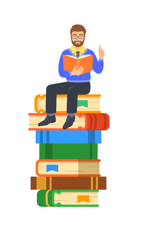 Young man teacher reads open book sitting on stack of giant books. School education concept. Vector cartoon illustration. Clever expert shares knowledge. Isolated on white