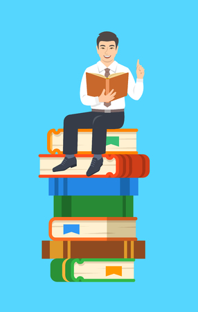 Young asian man teacher reads open book sitting on stack of giant books. School education concept. Vector cartoon illustration. Clever expert shares knowledge. Illustration