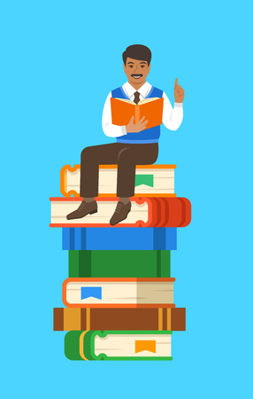 Indian man teacher reads open book sitting on stack of giant books. School education concept. Vector cartoon illustration. Clever expert shares knowledge.