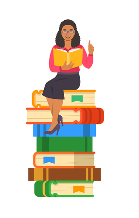 Young black woman teacher reads open book sitting on stack of giant books. School education concept. Vector cartoon illustration. Clever expert shares knowledge. Isolated on white