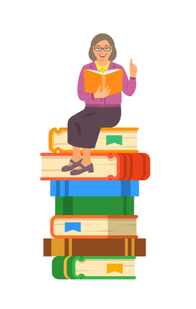 Elderly woman teacher reads open book sitting on stack of giant books. School education concept. Vector cartoon illustration. Senior person shares her knowledge Illustration