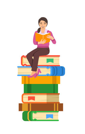 Young asian girl student reads open book sitting on stack of giant books. High school education concept. Vector cartoon illustration. Exam preparation using paper book. Modern well-educated youth