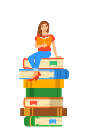 Young modern girl student reads open book sitting on stack of giant books. High school education concept. Vector cartoon illustration. Exam preparation using paper book. Modern well-educated youth Illustration
