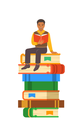 Young black boy student reads open book sitting on stack of giant books. High school education concept. Vector cartoon illustration. Exam preparation using paper book. Modern well-educated youth Illustration