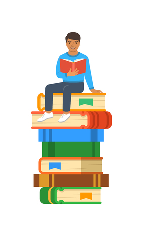 Young Indian boy student reads open book sitting on stack of giant books. High school education concept. Vector cartoon illustration. Exam preparation using paper book. Modern well-educated youth