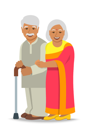 Old couple stands together. Elderly Indian woman in sari holds her husband arm. Vector flat illustration. Aged man leans on stick. Happy smiling senior people in retirement. Long married life concept