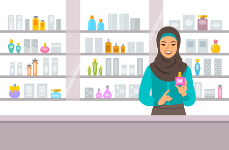 Cosmetics store arabic girl counter near shelves with perfumes and skin care products. Young woman seller offering bottle with new aroma at the perfume shop. Vector cartoon background