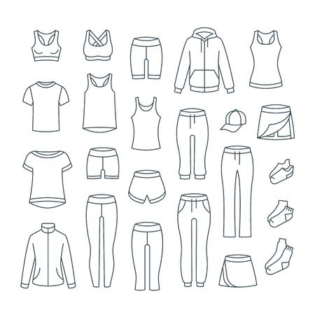 Ropa casual de mujer para entrenamiento físico. Prendas básicas para entrenamiento de gimnasio. Iconos de línea fina de vector. Traje de contorno para niña activa. Camisas, pantalones, chaquetas, tops, pantalones cortos, falda, calcetines de estilo deportivo lineal