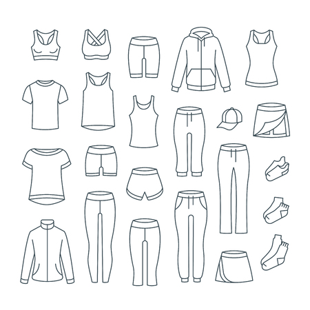 Women casual clothes for fitness training. Basic garments for gym workout. Vector thin line icons. Outline outfit for active girl. Linear sport style shirts, pants, jackets, tops, shorts, skirt, socks 向量圖像