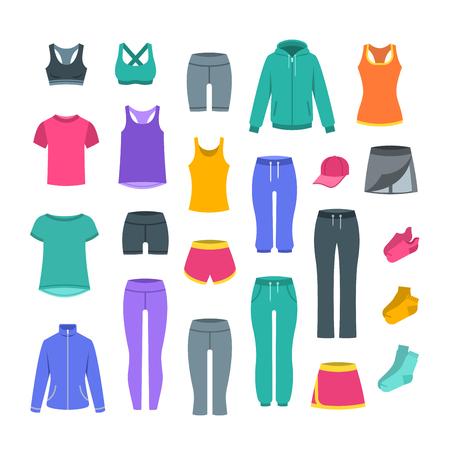 Freizeitkleidung für Frauen für das Fitnesstraining. Basic-Kleidung für das Fitness-Training. Flache Vektorgrafik. Outfit für aktives modernes Mädchen. Hemden, Hosen, Jacken, Oberteile, Shorts, Röcke und Socken im Sportstil