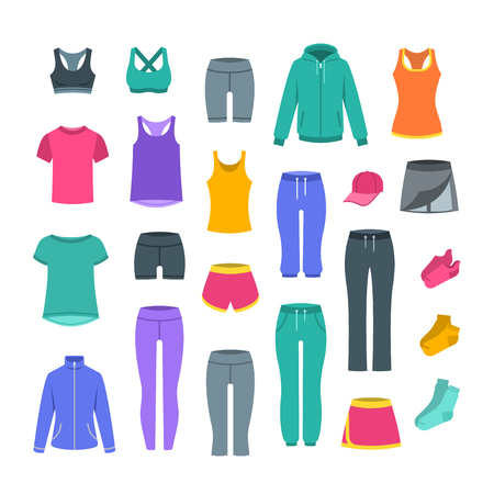 Women casual clothes for fitness training. Basic garments for gym workout. Vector flat illustration. Outfit for active modern girl. Sport style shirts, pants, jackets, tops, shorts, skirt and socks