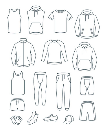Umreißen Sie Freizeitkleidung für Männer für das Fitnesstraining. Basic-Kleidung für das Fitness-Training. Vektor-dünne Linie Symbole. Outfit für den aktiven Mann. Lineare Herrenhemden, Hosen, Jacken, Oberteile, Unterteile, Shorts im Sportstil Vektorgrafik