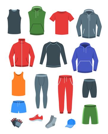 Freizeitkleidung für Männer für das Fitnesstraining. Basic-Kleidung für das Fitness-Training. Flache Vektorgrafik. Outfit für den aktiven modernen Mann. Herrenhemden, -hosen, -jacken, -tops, -hosen, -shorts, -socken