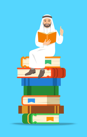 Young arab man teacher reads open book sitting on stack of giant books. School education concept. Vector cartoon illustration. Clever expert shares knowledge. Isolated on white Illustration