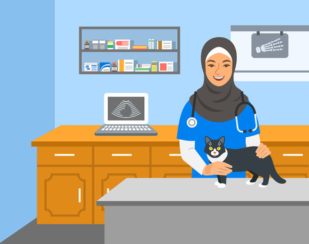 Veterinarian doctor arab woman holds cat on examination table in vet clinic. Vector cartoon illustration. Pets health care background. Domestic animals treatment concept. Veterinary professional