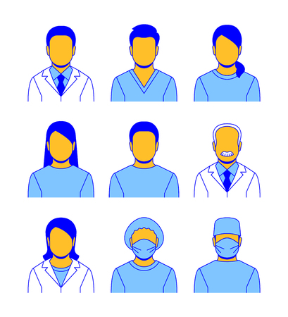 Medical staff vector flat line avatars. Hospital specialists icons. Doctors, nurses, assistants, patients, surgeon, professor. Different health care male and female professionals