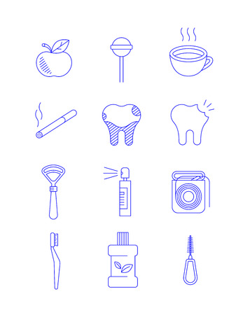 Dentistry icons. Thin line vector signs of what causes general dental diseases and how to prevent it. Oral hygiene supplies for individual use. Simple outline concepts isolated on white