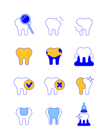 Dental diseases and treatment thin line vector icons. Caries, stained teeth, gingivitis symbols. Chek marks on tooth, whitening, filling, professional hygiene concepts.