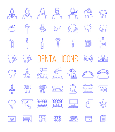 Dentistry icons. Thin line vector signs of dental clinic services. Oral health care concepts. Mouth hygiene, dental implants, surgery, orthodontic. Dentist office staff. Teeth diseases and treatment.