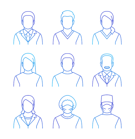 Medical staff vector thin line avatars. Hospital specialists icons. Doctors, nurses, assistants, patients, surgeon, professor. Different health care male and female professionals  イラスト・ベクター素材