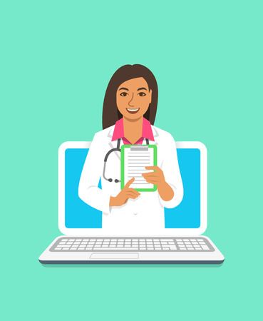 Online doctor concept. Medical internet consultation. Vector flat illustration. Healthcare consulting web service. Indian woman physician holds clipboard with treatment. Hospital support by computer  イラスト・ベクター素材
