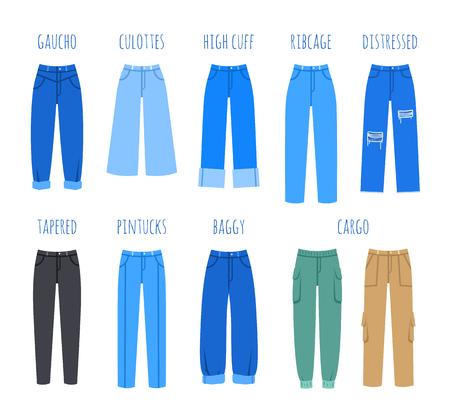 Colección de estilo jeans de mujer de moda. Ilustración plana de vector de pantalones de mezclilla modernos para chica de moda. Pantalones azules aislados en blanco. Elementos de infografía
