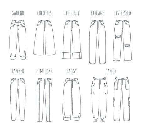 Trendy damesjeansstijlen collectie. Vector platte dunne lijn iconen van moderne denim broek voor modieus meisje. Overzichtsillustratie van broek die op wit wordt geïsoleerd. Infografische elementen
