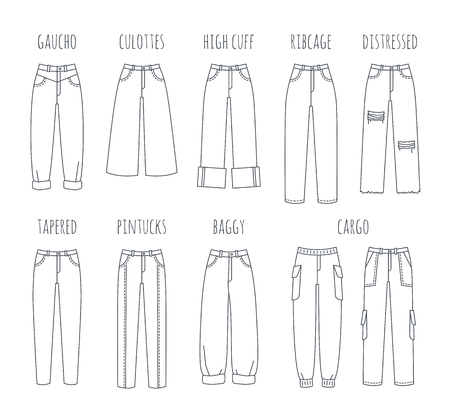 Trendy women jeans styles collection. Vector flat thin line icons of modern denim pants for fashionable girl. Outline illustration of trousers isolated on white. Infographic elements Иллюстрация