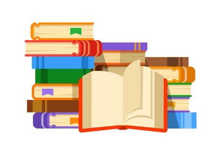 Pila di libri con il libro aperto. Illustrazione piana di vettore. Il concetto di libro come fonte di conoscenza. Leggere libri di carta. Bandiera del fumetto della biblioteca pubblica.
