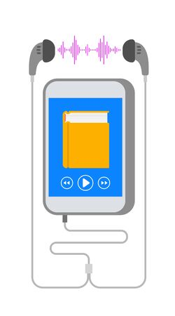 Audio book concept. Smartphone application for reading e-book. Electronic audiobook player on mobile phone screen and earphones. Online library vector flat illustration.