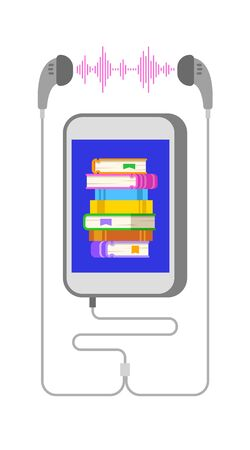 Audio book concept. Smartphone application for reading e-book. Stack of books on mobile phone screen and earphones. Online library vector flat illustration. Electronic audiobook metaphor