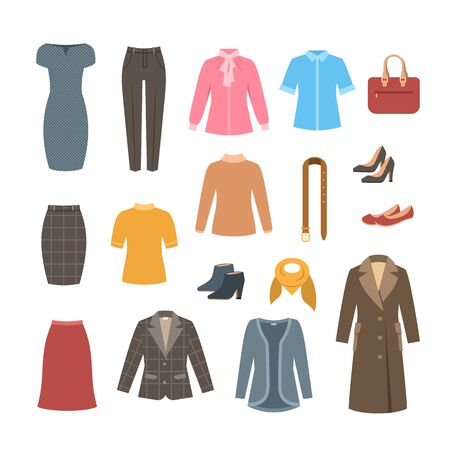 Business woman basic clothes and shoes set. Vector flat illustration. Office formal dress code outfit. Cartoon illustration. Icons of dress, skirt, jacket, coat, trousers, shirt, bag, boots. Ilustração