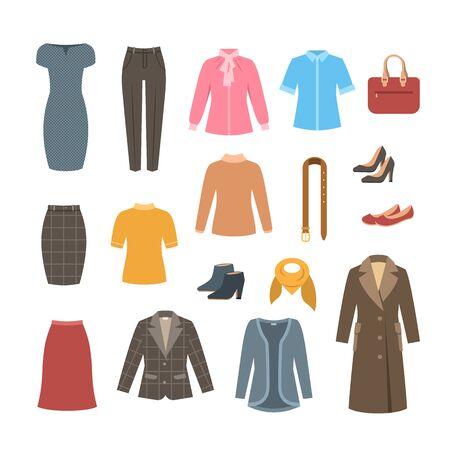 Set di vestiti e scarpe di base per donna d'affari. Illustrazione piana di vettore. Abbigliamento formale da ufficio. Illustrazione del fumetto. Icone di abito, gonna, giacca, cappotto, pantaloni, camicia, borsa, stivali. Vettoriali