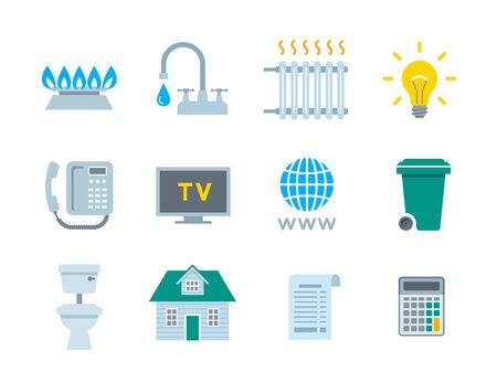 Household services utility bill icons. Vector flat symbols of regular payments such as gas, water, electricity, heating, telephone, cable TV, Internet, garbage, sewage. Simple pictograms 向量圖像