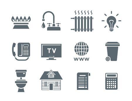 Icônes de facture de services ménagers. Symboles vectoriels à silhouette plate des paiements réguliers tels que le gaz, l'eau, l'électricité, le chauffage, le téléphone, la télévision par câble, Internet, les ordures, les eaux usées. Pictogrammes simples